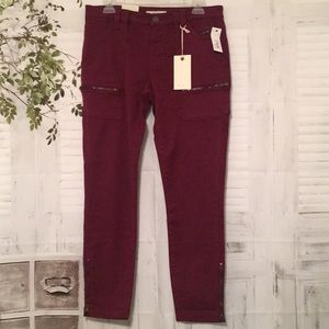 Joie Park Skinny burgundy utility pants